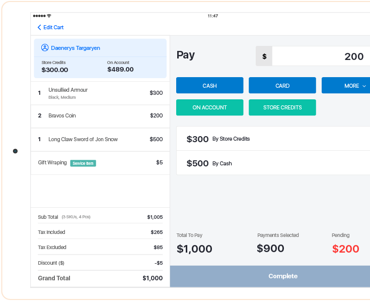 Payments integrated POS system