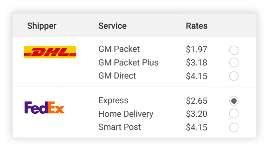 compare DHL shipper rates