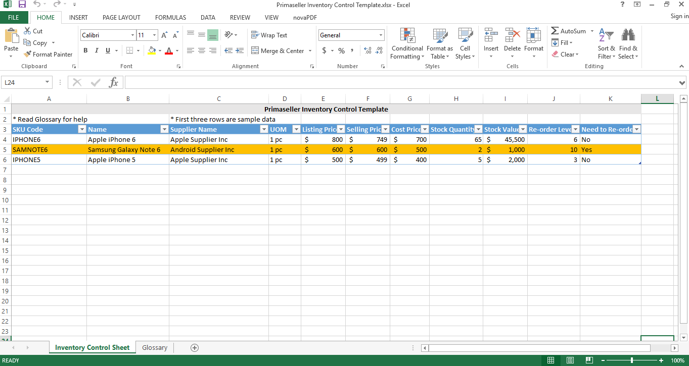 Free Inventory management spreadsheet template excel