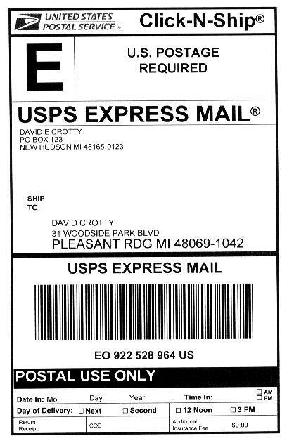 usps label printed in Primaseller