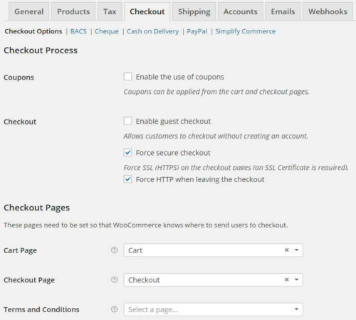 woocommerce Checkout settings