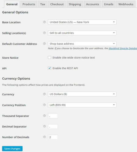 General Settings for woocommerce