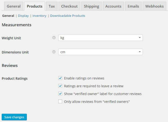 Products settings for woocommerce