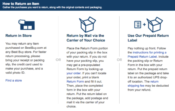 Bestbuy Ecommerce Returns Policy 2